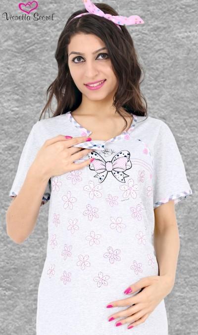 Kojící noční košile - velká Mašle a Květy