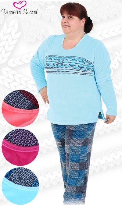 Nadměrné velurové dámské pyžamo - Káro