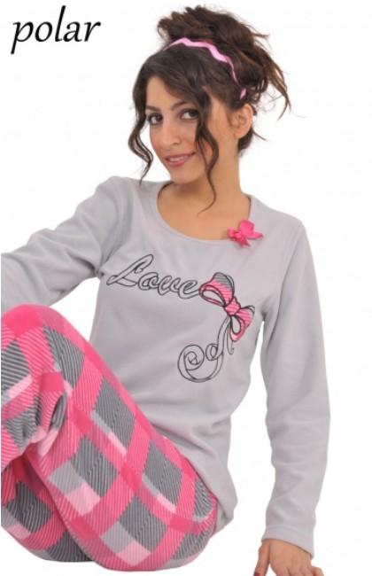 Polar pyžamo dámské - Love - velká mašle