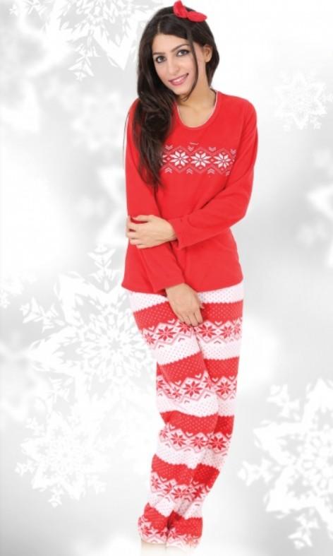 Flísové pyžamo zimní dámské - Sněhové vločky
