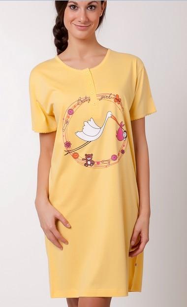 Kojící noční košile - Čáp s miminkem