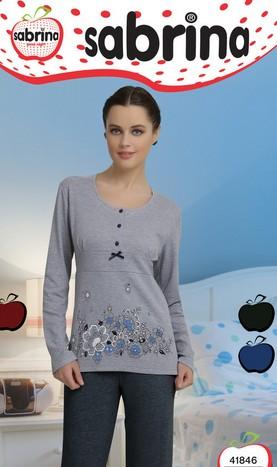Dámské dlouhé pyžamo Sabrina 41846 - Kvítky