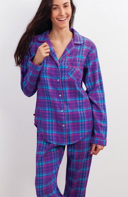 Flanelové dámské pyžamo dlouhé - Key 417