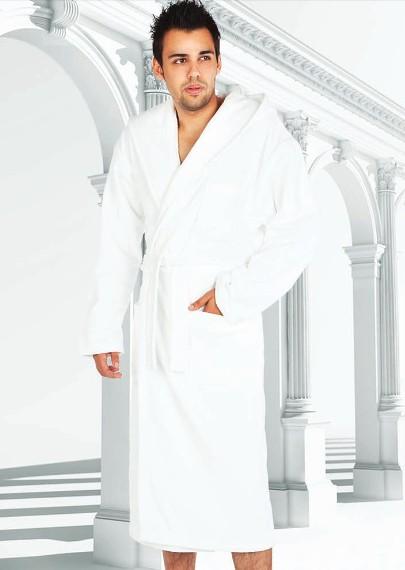 Froté župan pánský bílý Forex 622 - s kapucí
