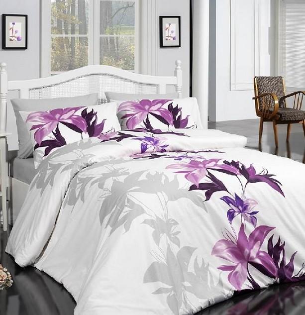 Fialový květ - bavlněné ložní povlečení 140 x 200