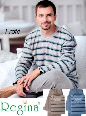 Froté pánské pyžamo dlouhé - Regina 38714
