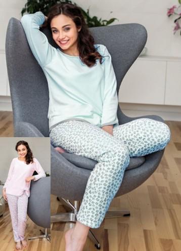 Teplé velurové dámské pyžamo - Regina 766