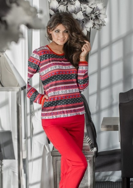 Pyžamo s norským vzorem - Luna 608 - dámské