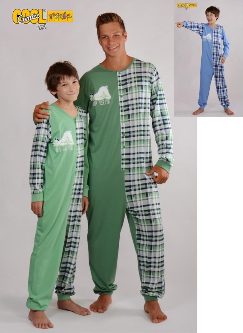 Spící bílý medvěd - dětské pyžamo - overal