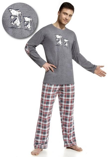 Pánské pyžamo dlouhé kárované kalhoty - Rats
