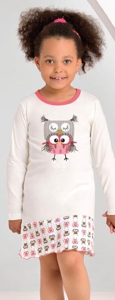 Dívčí noční košile vzorovaná - Sova Snow