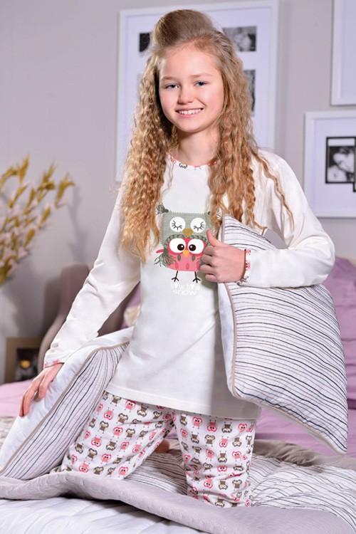 Dívčí pyžamo dlouhé vzorované - Sova Snow