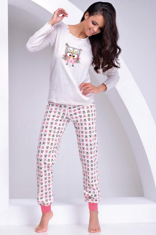 Dámské pyžamo dlouhé vzorované - Sova Snow