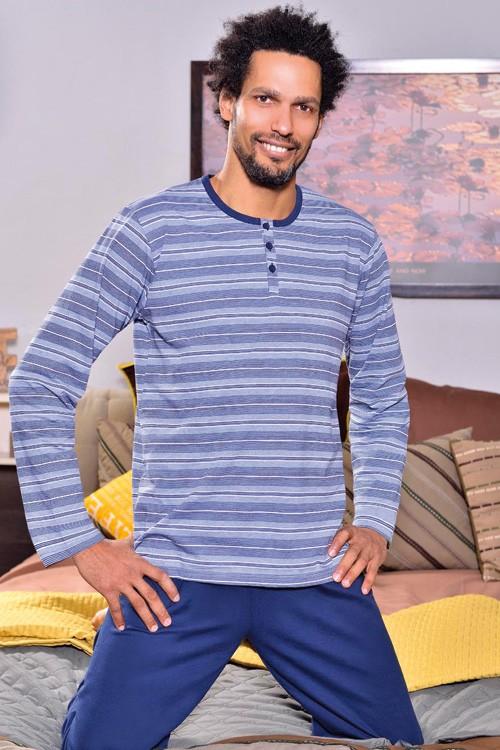 Proužkované pánské dlouhé pyžamo - Fryderik