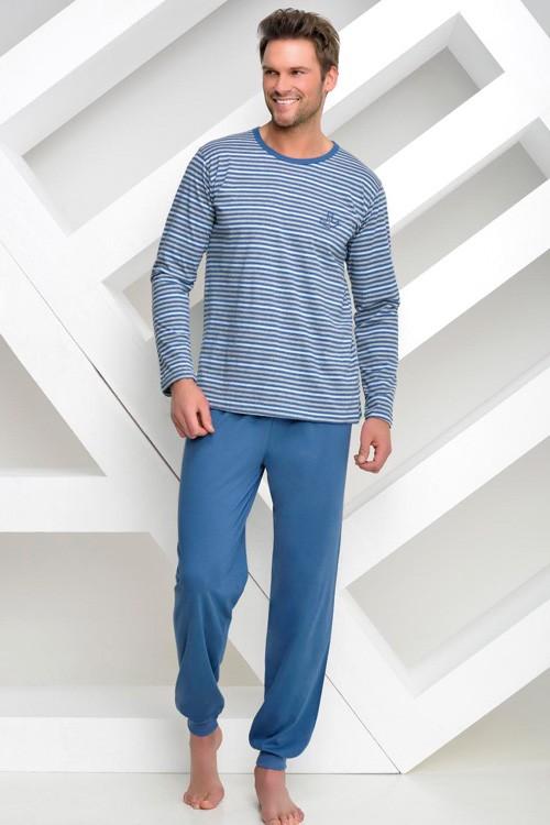 Dlouhé proužkované pánské pyžamo - Max