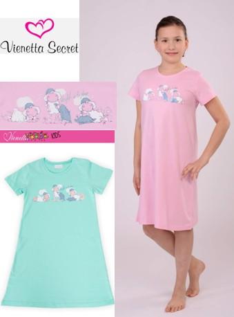 Dívčí noční košile krátky rukáv - Ovečky