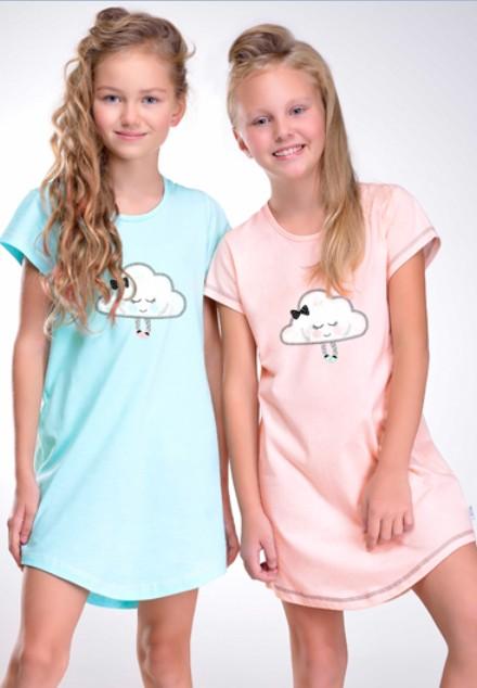 Noční košile - Obláček - dívčí - krátký rukáv