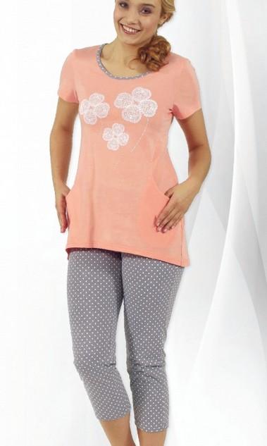 Dámské pyžamo tříčtvrteční - Čtyřlístky