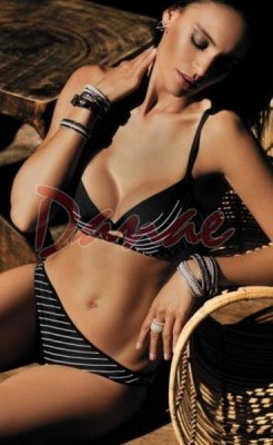f2205aec926 Push-up plavky Carla černé s bílým proužkem - Danaeshop
