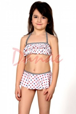 83381ac1d07 Dětské dvoudílné puntíkaté plavky se sukénkou - Danaeshop